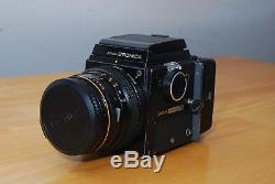 Bronica SQ-A with 80 mm f/2.8, 150 mm f/4, waist level finder, and two 120 backs