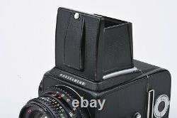 EXC+ HASSELBLAD 500CM withZEISS 80mm PLANAR T LENS, A12 BACK, WLF, CAP, TESTED