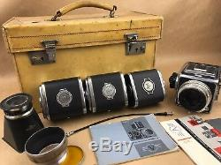 Hasselblad 1000F Set with 80mm F/2.8 Tessar Lens 4 Backs, Case & More