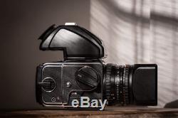 Hasselblad 203FE + E12 film back + Zeiss Planar 2.8 CFE + Prismfinder (MINT)