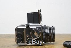 Hasselblad 500CM 500C/M chrome with Zeiss CF Planar 80mm f/2.8 T & A12 back EXC