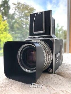 Hasselblad 500C Zeiss f2.8 80mm withlens hood, strap & A12 back medium format 120