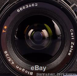 Hasselblad Swc/m Black 38mm Biogon Cf T Camera +a12 Film Back +finder +hood