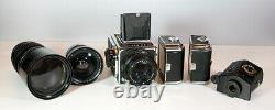 Kiev-88 body medium format with 3 lenses, 3 film backs and Prism Finder