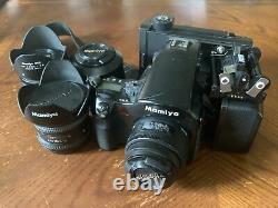 Mamiya 645AFD with 4 lenses, film backs