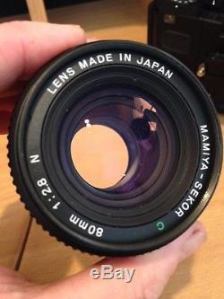 Mint Mamiya 645 Super Body + Mamiya-Secor 80mm & 55mm Lenses, + 2 120 film backs