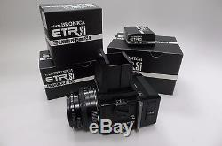 NIB FULL OUTFIT Bronica ETR Si body with PE 75mm F/2.8, Waist Finder E, 120 Back