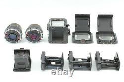 N Mint with2Hood 2Lens 3back BRONICA SQ 6x6 6x4.5 Waist Finder 80mm 150mm JAPAN