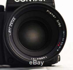 Near Mint Contax 645 Zeiss 80mm f2 extra film back split image focus screen