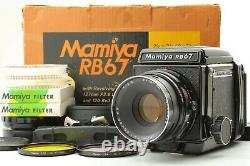 RARE Almost Unused BOXED SET Mamiya RB67 Pro NB 127mm Hood 120 Back Japan 1168