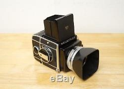 Rolleiflex SL66 with Zeiss 80mm f/2.8 and film back in good condition Rollei